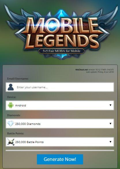 Cara Cheat Diamond Mobile Legends di Situs Wecheat.net Terbaru 2018